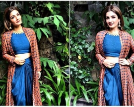 Raveena Tandon`s fusion outfit is perfect for a mehendi function; see pics