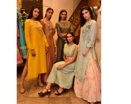 DESIGNER SHRUTI SANCHETI LAUNCHES HER SS 2018 COLLECTION ALONG WITH SURVEEN CHAWLA AT HUE STORE, HUGHES ROAD