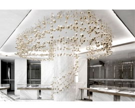 Golden Bubbles of Various Sizes Floating on a Jewelry Store