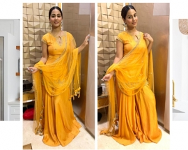 Hina Khan recently spotted in KALKI Fashions Outfit for Ganpati Darshan!
