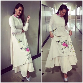 Sonakshi Sinha`s floral anarkali + palazzo pants is all about comfortable fashion!